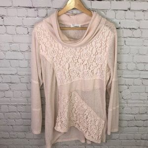 Blush pink lace overlay top